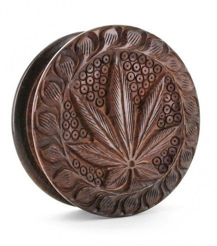 Wooden Grinder Carved Cannabis